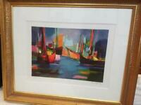 "MARCEL MOULY FRAMED Pencil Signed & Numbered ""Marine Le Soir"" Lithograph Print"