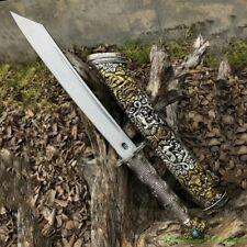 Lhatse Tibetan Knife Short Sword Steel Blade Sharp Tibetan Silver Saya Hilt#5472