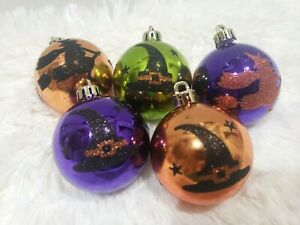 """Halloween Witch Hat Witch Purple Plastic 2.5"""" Tree Ornaments Decor Set of 5"""
