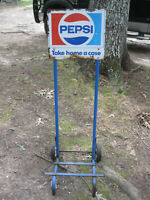 Vintage Pepsi Display Crate Carrier 2 Wheeled Dolly Cart