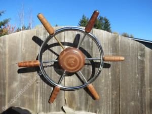 Authentic 18 inch Stainless Steel & Wood Boat Wheel -(XL7-2062)