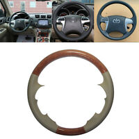 Tan Leather Wood Steering Wheel Cover for 07-11 Highlander Camry Hilux Fortuner