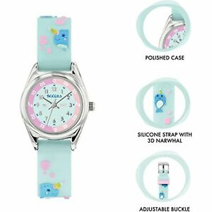 Tikkers Narwhal Quartz Blue Dial Silicone Strap Girls Watch Gift Set ATK1061
