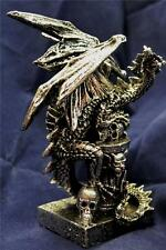 Nemesis Now 13.5cm INDRICK SILVER  DRAGON HOLDING A SKULL FIGURE Dragons Statue