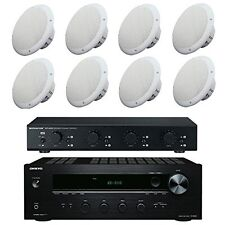 4 x 35w Ceiling Speakers with 4CH Stereo Amplifier, Speakers & 100m Cable