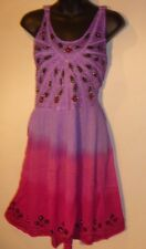 Dress Fits L XL 1X Plus Sundress Purple Pink Beaded Embroidery Empire NWT BR 107