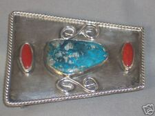 & Coral Belt Buckle 52.4 Grams Vintage Large Native American Sterling Turquoise