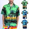 Men Casual Hawaiian Print Short T-Shirt Sports Beach Quick Dry Loose Top Blouse