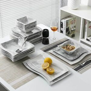 26 Pcs Dinnerware Set Kitchen Nordic Style Marble Porcelain Bowl Plate Dessert