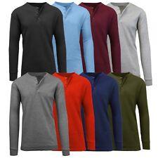 Mens Henley Thermal Shirts Undershirts Tee Long Sleeve Regular Fit Crew Neck NWT