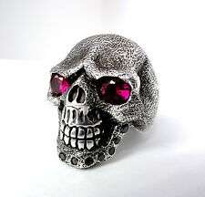Men's Sandman Silver Skull  Ring With Black Diamonds And Rubies Limited Edition