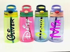 Personalised Custom Disney Name Kids Children Water Bottle Flip Straw Boys Girls