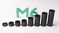 M6 Black Plastic Spacers Standoff Washer Nylon 3mm to 30mm Choice of Quantity.