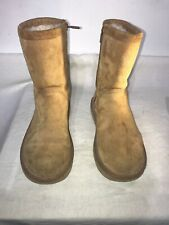 Ugg Australia Ladies Chestnut Mid Calf Leather Boots Uk 4/5 Ref Ba12