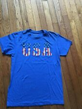 Hybrid Men's/Womans  Graphic Print USA T-Shirt- Blue-Size Small