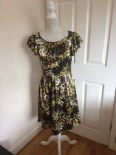Next Vintage Style Satin Floral Dress 8 Yellow Roses