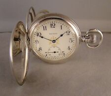 109 YEARS OLD WALTHAM 17j STERLING SILVER HUNTER CASE FANCY DIAL 16sPOCKET WATCH