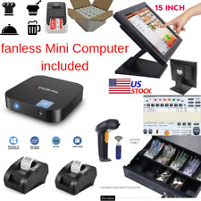 New mini Fanless Pc, 2 x printers Pos Point of Sale System Combo Retail Labels