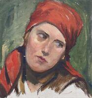 Portrait Frau mit rotem Kopftuch Studie Skizze Ölbild Anonym 28 x 26 cm
