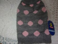 Gray Pink Dot Dog Sweater new pet S Top Paw puppy small