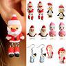 Women Ear Stud Earrings Cute 3D Christmas Santa Claus Polymer Clay Ear UP Drop