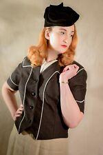1940s Secretary Cropped Jacket Collarless Short Sleeve Black Linen, UK 14 US 10