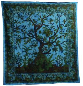 Indian Tapestry Mandala Tree of Life Wall hangings Boho Bed Sheet Cotton Blue