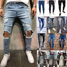 Men's Skinny Jeans Trousers Biker Destroyed Frayed Stretch Denim Ripped Pants