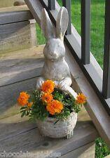 Bunny Rabbit STATUE Planter w/BASKET*Primitive/French Country Farmhouse Decor