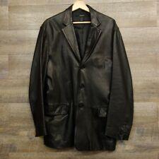 Mens DKNY Black 100% Leather Jacket Coat Blazer Donna Karan 3 Button Size L