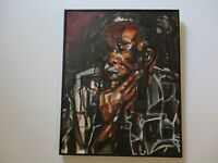 AFRICAN AMERICAN PORTRAIT EXPRESSIONISM STYLISH MODERNIST PAINTING BY MOSES