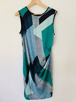 Country Road Dress White Blue Green Black Silk Long Summer Geometric M 12 GREAT
