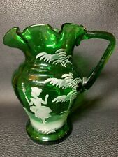 More details for 19th century victorian mary gregory hand blown enamel decoration glass pitcher