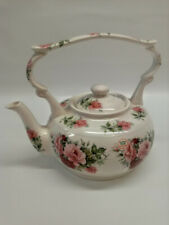 Arthur Wood Kettle Shaped Teapot with Lid. Pink Roses, Never Used.