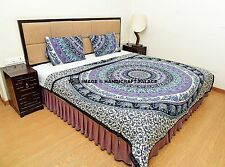 Elephant Mandala Cotton Filled Quilted Quilt Reversible Indian Blanket Duvet Set