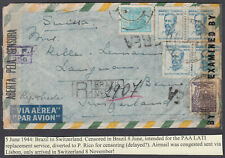 Brazil: Switzerland; dual Censor; Porto Rico;AIrmail via Lisbon;Registered; 1944