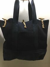 Polo Ralph Lauren Rugby Navy Blue Wool Canvas Plaid Large Boat Tote Bag Shopper