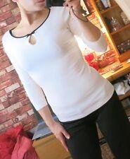 ORSAY black and white cream blouse trim bow posh UK 6 8