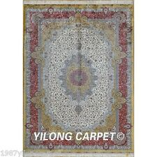 Yilong 6'x9' Handmade Persian Silk Floor Rugs Hand Knotted Oriental Carpet  0286