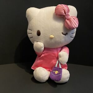"SANRIO HELLO KITTY - WHITE PLUSH PINK DRESS AND PURPLE PURSE - 11"""