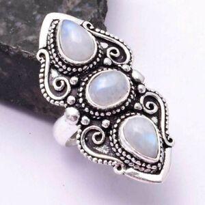 Rainbow Moonstone Ethnic Handmade Ring Jewelry US Size-7 AR 42392