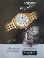 10/1991 PUB MONTRE WATCH LONGINES LINDBERGH HOUR ANGLE SPIRIT OF ST LOUIS AD