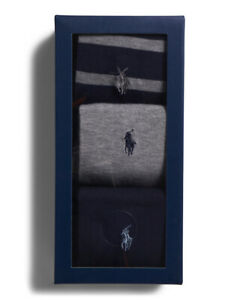 New Gift Box Polo Ralph Lauren Men's Cotton Grey Black Navy Pony Logo Socks 3-Pk