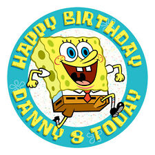 SPONGEBOB PERSONALISED EDIBLE ICING IMAGE PARTY CAKE TOPPER ROUND