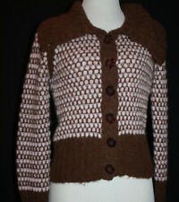 🌹FREE PEOPLE Petite Soft Pink/Brown Button Down ALPACA Blend Sweater SP #503