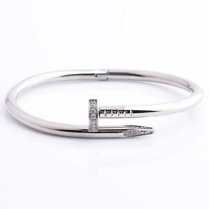 Fashion Nail Bracelet Stainless Steel White Gold 18k Plated Swarovsky Crystals