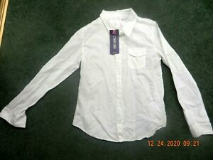 NWT, Cherokee  Woman's Whie Long Sleeve Blouse, Size XL (14/16)