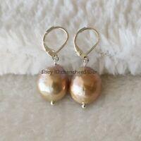schönes 12-14mm lila Edison Barock Süßwasser Perle 925 Silber Brisur Ohrringe