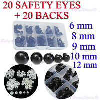 Safety Eye For Teddy Bear or Doll ** 5mm,6mm, 8mm, 9mm, 10mm, 12mm ** 20 BLACK