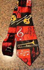 New Men's New Neck Lot's Of Trombones On A Black Neck Tie